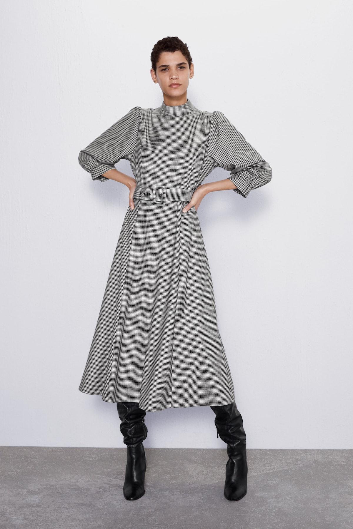 Houndstooth Belted Dress