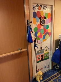 The doors of a Disney cruise ship are fishnetted - ready for gifts and surprises.