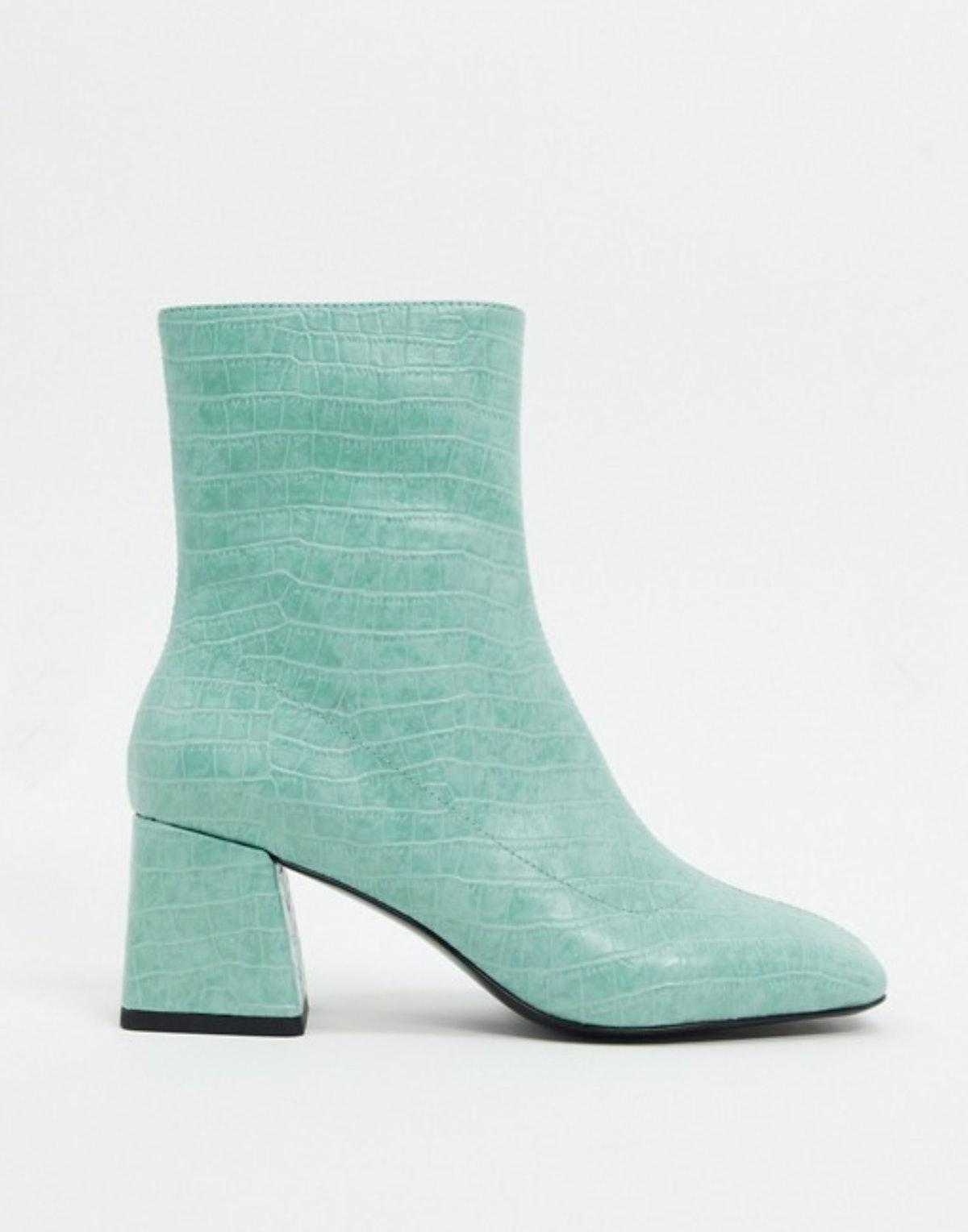 Monki Croc Print Ankle Boots