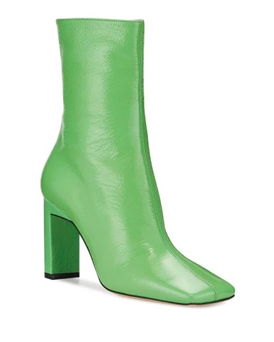 Isa Lacquer Square-Toe Booties