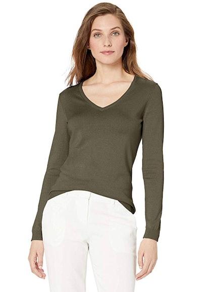 Lark & Ro Women's Long Sleeve V Neck Pima Cotton Sweater