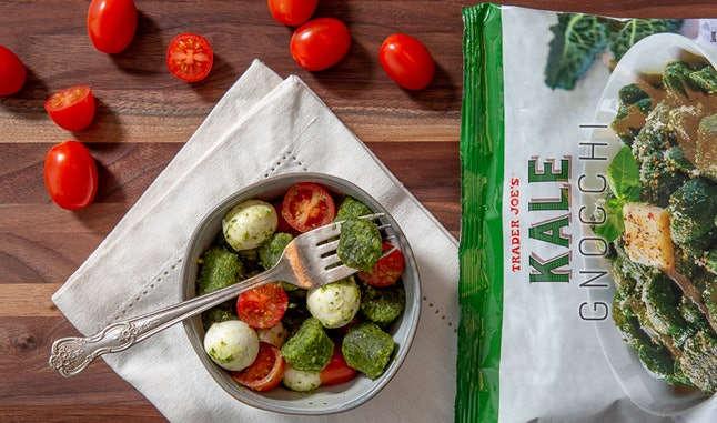 Trader Joe's new Kale Gnocchi pairs great with pesto, mozzarella, and tomatoes.