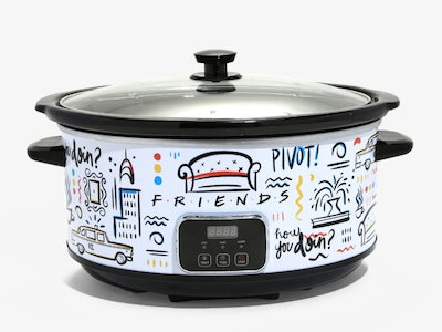 An image of a white slow cooker with doodles featuring quotes from the show 'Friends' upon it.