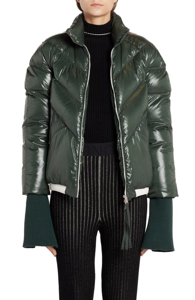 Yalou Knit Sleeve Lacquered Down Puffer Coat