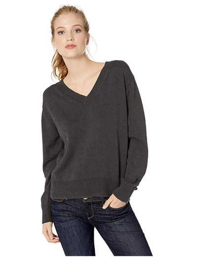 Daily Ritual Women's 100% Cotton V-Neck Pullover Sweater