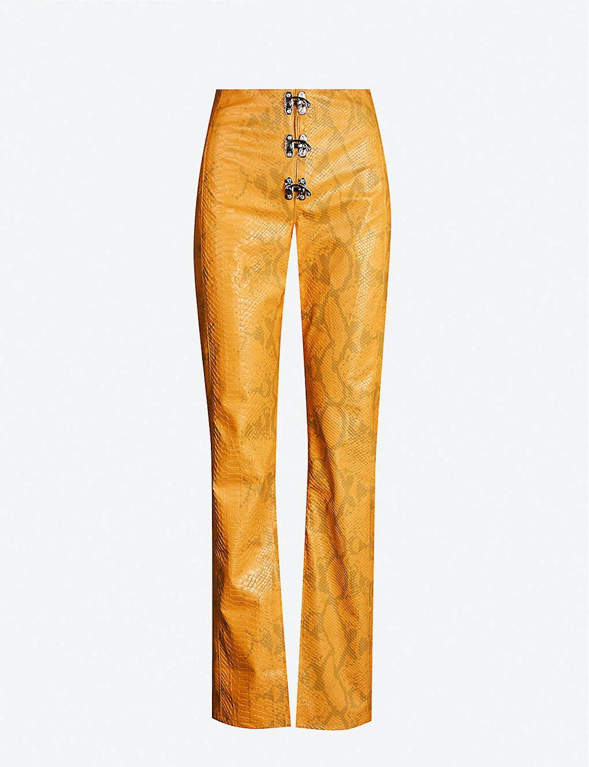 Gaia Faux-Snakeskin Trousers