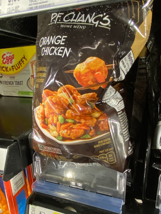 A bag of crispy orange chicken