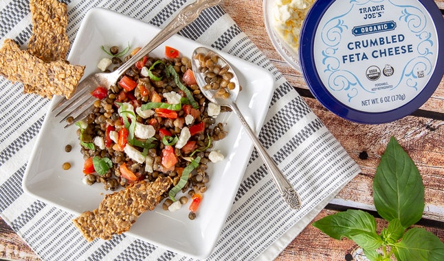 Trader Joe's pre-cooked lentils paired with bruschetta and feta are an easy and delicious meal prep recipe.