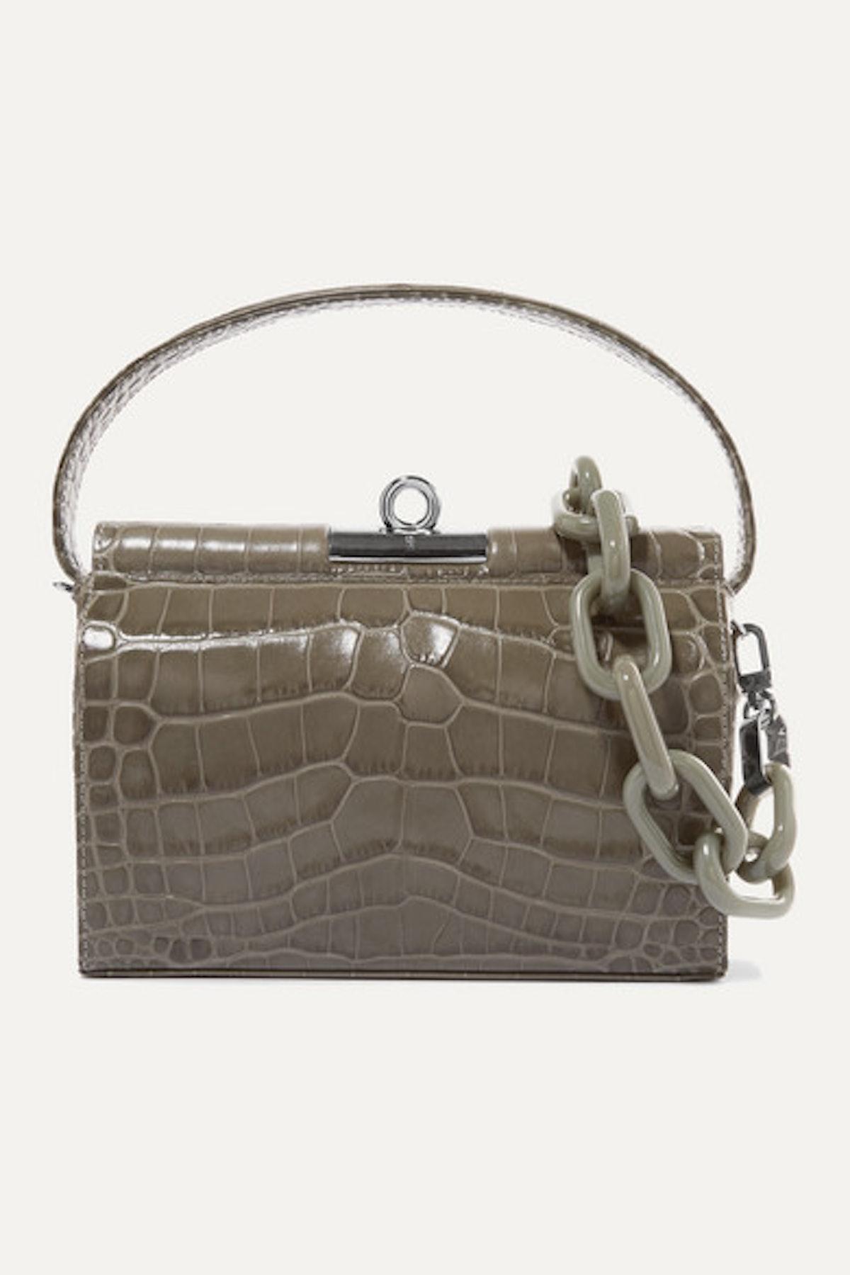 Milky Mini Croc-Effect Leather Shoulder Bag