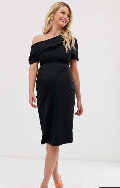 ASOS Design Maternity Pleated Should Pencil Dress