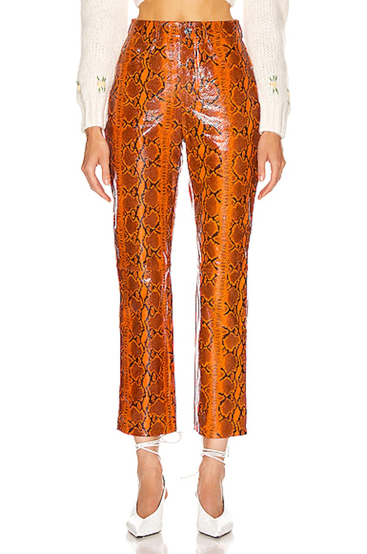 Shiloh Snake-Effect Leather Pants