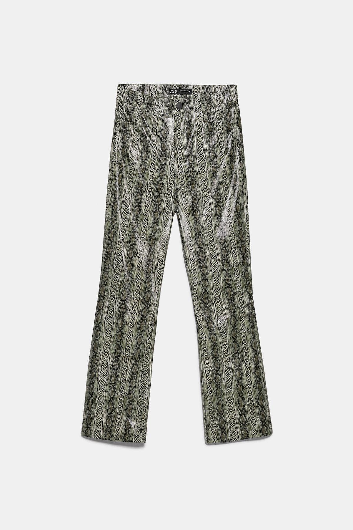 Snakeskin Print Mini Flare Pants