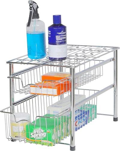 Simple Houseware Stackable 2-Tier Sliding Basket Organizer