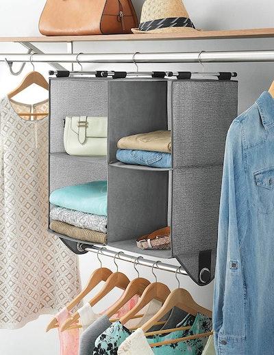 Whitmor Fabric Closet Organizer with Built-In Garment Rod