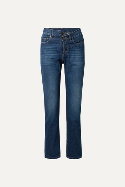 Embroidered High-Rise Slim-Leg Jeans