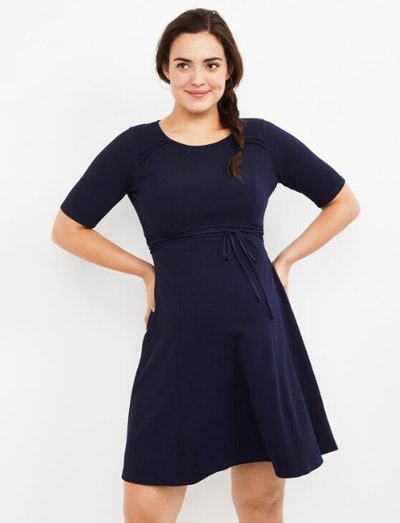 Pleated Waist Maternity Dress