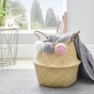 Multi Coloured Pom Pom Storage Basket