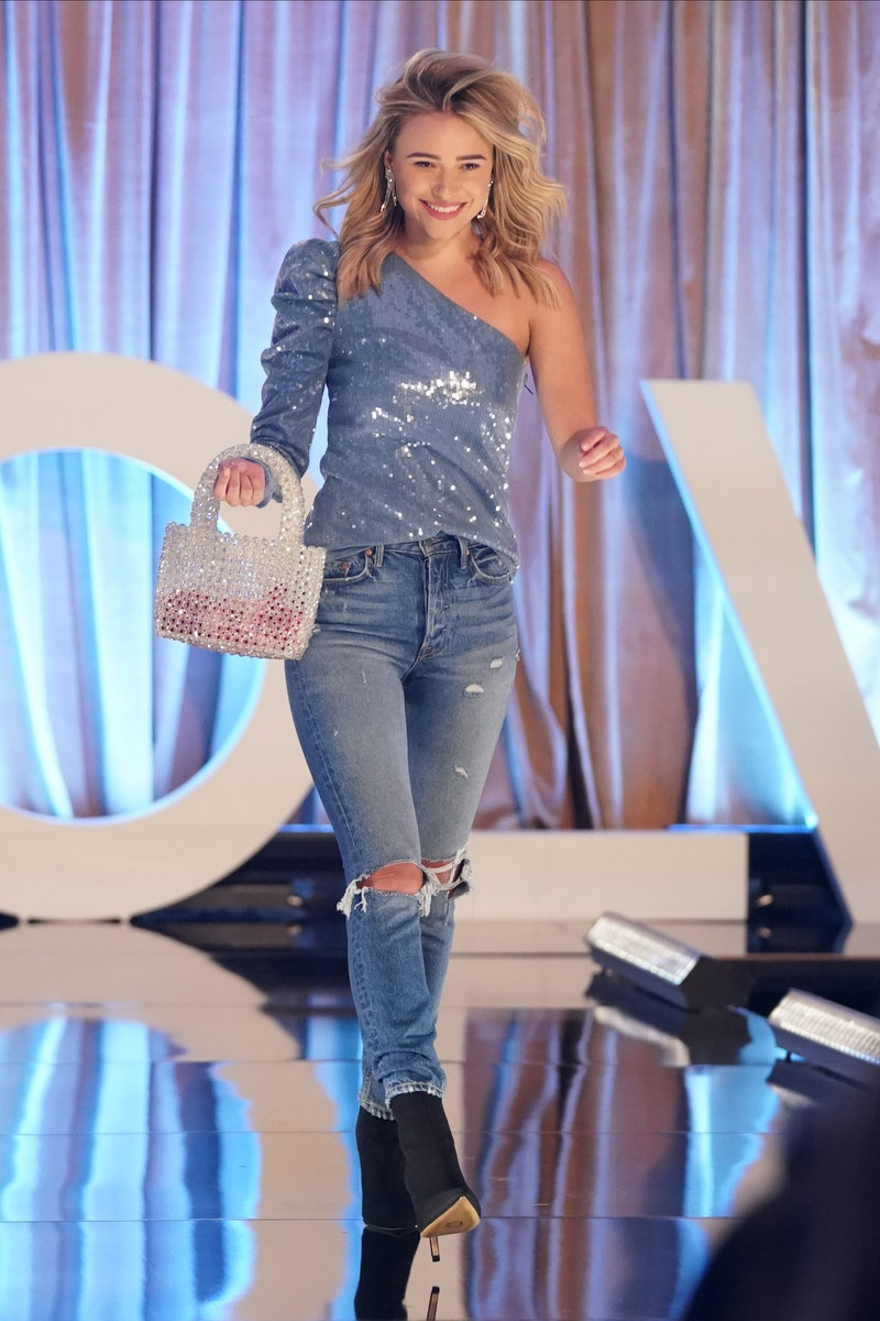 Mykenna struts the runway in Peter's The Bachelor.