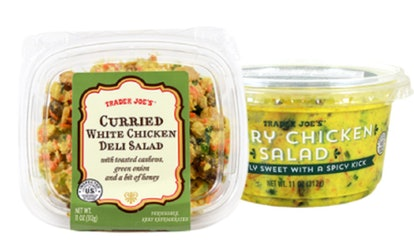 Trader Joe's curry chicken salad can be eater over greens, bread, or crackers.