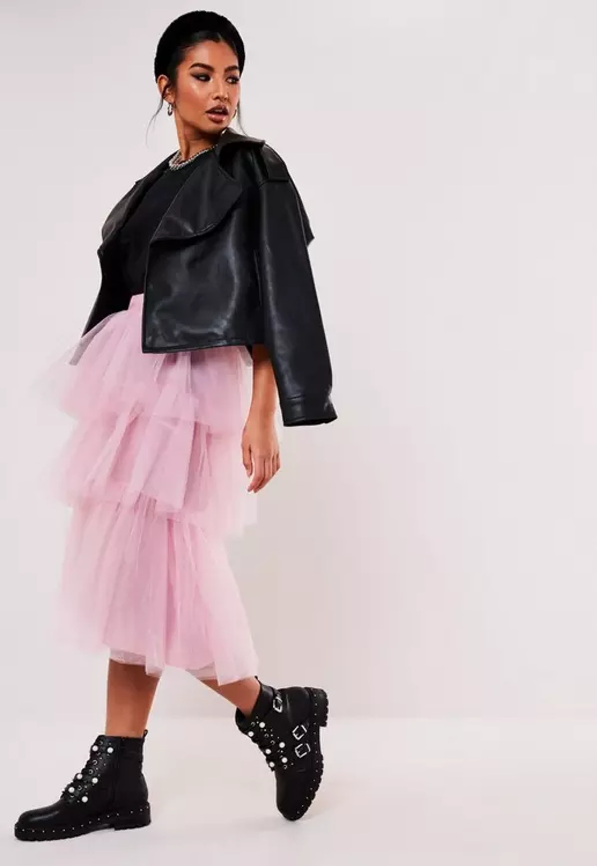 Missguided Pink Tulle Tiered Midi Skirt