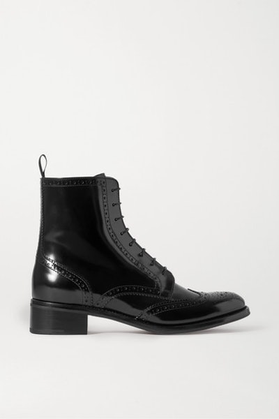 Sylvie Glossed-Leather Ankle Boots