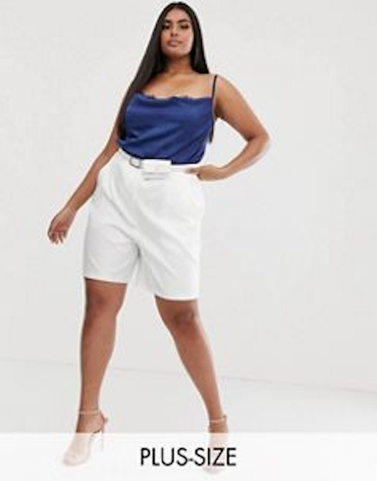 Outrageous Fortune Plus City Short With Belt Detail In White