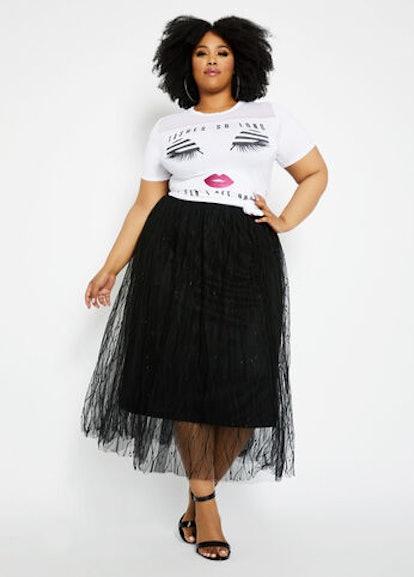 Ashley Stewart Embroidered Tulle Midi Skirt