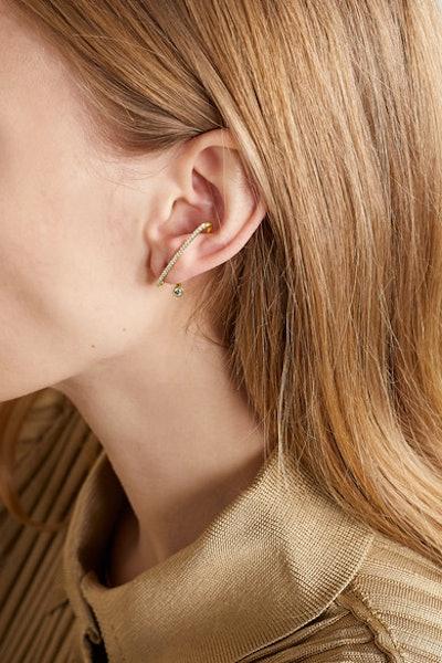 Crescendo Flare gold diamond earring