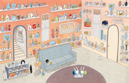 two bunnies lying on floor surrounded by a wall of jars containing memories