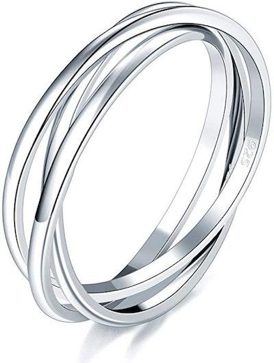 BORUO Silver Triple Interlocked Ring