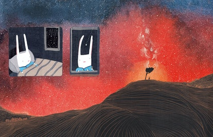 Llwelyn the bunny lies in bed looking out at the vast sparkling sky