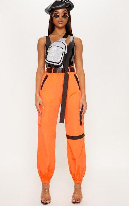 PrettyLittleThing Neon Orange Shell Belted Pocket Detail Joggers