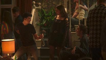 Asa Butterfield as Otis, Emma Mackey as Maeve, and George Robinson as Isaac in Sex Education Season 2