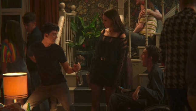 Asa Butterfield as Otis, Emma Mackey as Maeve, and George Robinson as Isaac in Sex Education Season 2