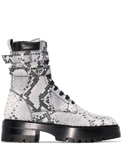 Snake-Embossed Combat Boots