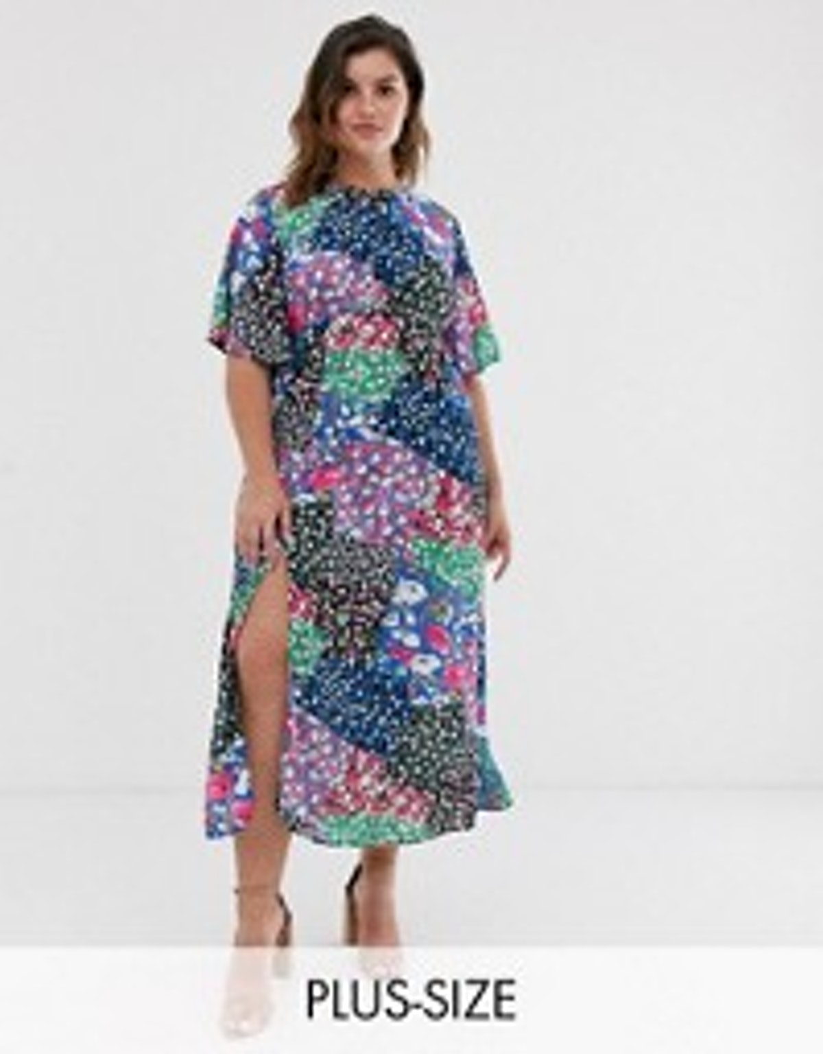 John Zack Plus Scarf Pint Midaxi Dress in Multi Print