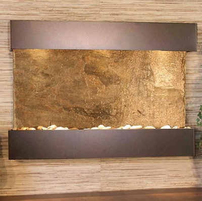 "Reflection Creek Green Slate Bronze 27"" High Wall Fountain"