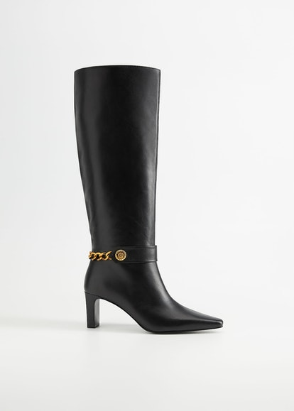 Chain Detail Leather Boot