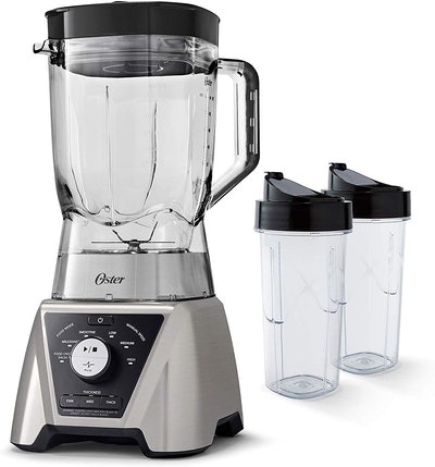 Oster Texture Select Settings Pro Blender with 2 Blend-N-Go Cups and Tritan Jar, Brushed Nickel