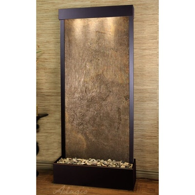 Tranquil River Natural Stone/Metal Wall Fountain with Light