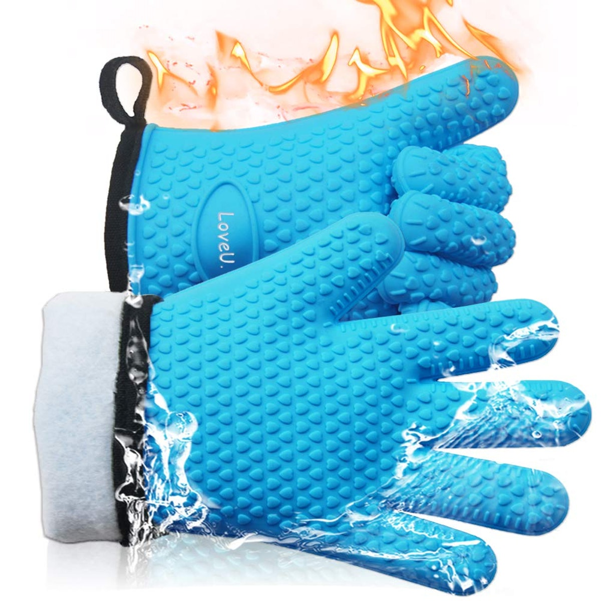 LoveU. Oven Mitts - Silicone and Cotton Double-layer Heat Resistant Gloves