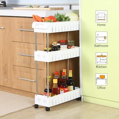 Aogist 3 Tier Slim Storage Cart Mobile Shelving Unit