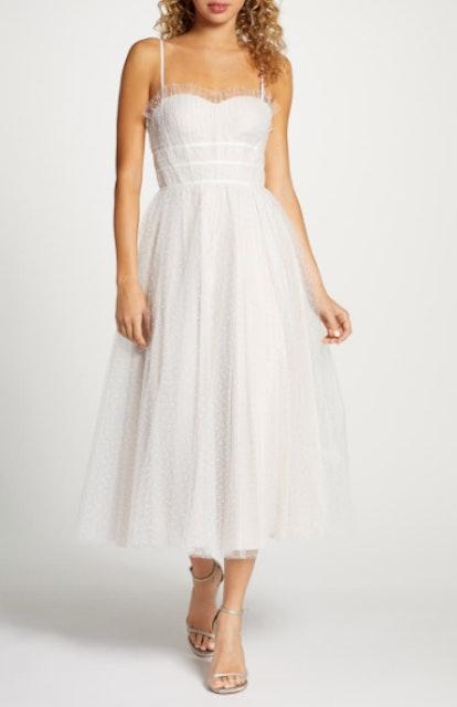 Veronica Swiss Dot Tea Length Wedding Dress