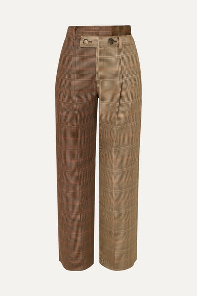 Fifty Fifty Asymmetric Checked Wool-Blend Tweed Straight-Leg Pants