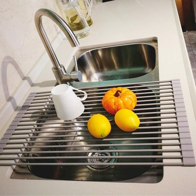 LEASEN Over the Sink Silicone Roll-up Dish Drying Rack
