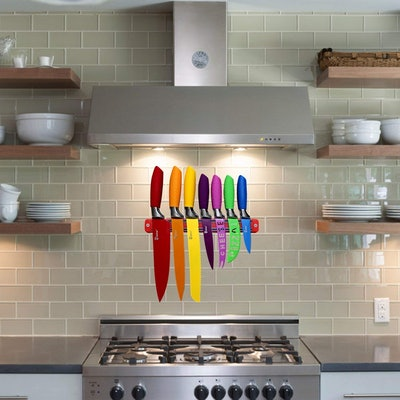Chefcoo Kitchen Knife Set with Magnetic Strip and Sharpener