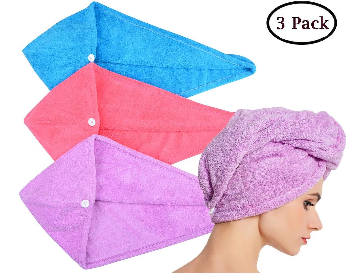 HOPESHINE Microfiber Hair Drying Towel (3-Pack)