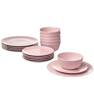 FÄRGKLAR 18-piece dinnerware set, matte light pink