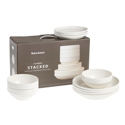 Porcelain Stacked 12 Piece Dinnerware Set