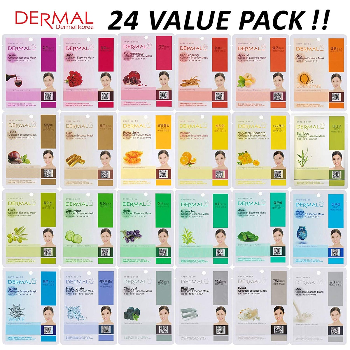 DERMAL 24 Combo Pack Collagen Essence Full Face Facial Mask Sheet